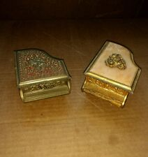 1Vintage Sankyo Gold Tone w Faux Marble & Rose & 1 w Cupid on top Music Box's