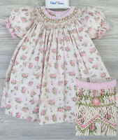 NWT Petit Ami Cream Bishop Smocked Rose Floral Baby Girls 2pc Dress 3 6 9 Months