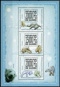Guinea Wild Animals Stamps 2013 MNH Polar Bears Bear Fauna 3v M/S