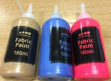 Brian Clegg FABRIC PAINT 180ml bottle 3 colours CLOTHES DYE GOLD neon RED BLUE