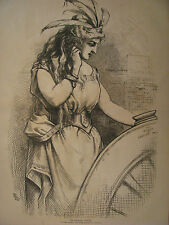 """COLUMBIA """"THE POLITICAL LOTTERY"""" WHEEL OF FORTUNE HARPER'S WEEKLY 1876"""