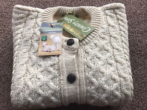 """Traditional Cream 100% British Wool Cable Knit Aran Cardigan Small 34"""" Chest"""