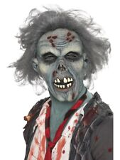 Adult Latex Decaying Zombie Mask + Hair Halloween Fancy Dress Costume