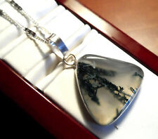 """New MOSS AGATE Triangle Pendant & Necklace Set 26"""" 925 Crimped chain Earthy Boho"""
