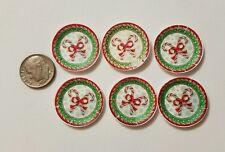 6 Miniature dollhouse Christmas Santa Paper plates  Barbie 1/12 Candy Canes