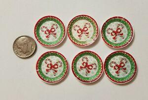 6 Miniature dollhouse Christmas Santa Paper plates  Barbie 1/12 Candy Canes