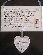 Personalised Handmade Congratulations On Wedding Day Marriage Poem Gift Plaque
