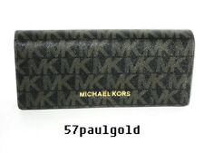 🌹NWT Michael Kors Jet Set Signature Travel Carryall Clutch Wallet Black/Brown