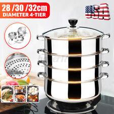New Listing4/5 tier steamer cooker Steam set Stainless Steel Kitchen cookware 32/30cm Pot
