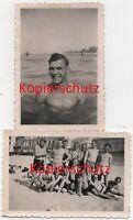 2 x WK2 Foto Wehrmacht NACKT NUDE halbnackt Soldaten Strand Belgien Frankre 2279