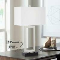 Modern Table Lamp with USB Outlet Steel Open Rectangle for Living Room Bedroom