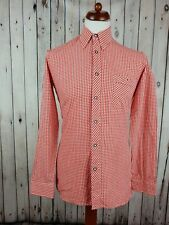 "Vtg 1980s L-Sleeve Red Gingham Check Cotton Shirt -14.5""/S GM58"