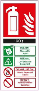 FIRE EXTINGUISHER CO2  STICKER SIGN Health and Safety 200x85mm