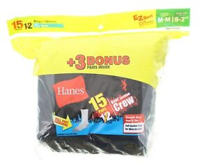 Hanes Boys Crew Socks 15 Pairs EZ Sort Full Cushion Foot Medium (9-2.5), Black
