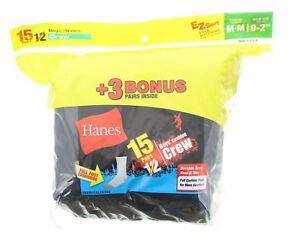 Hanes Boys Crew Socks 15 Pairs EZ Sort Full Cushion Foot Medium (9-2.5), Black