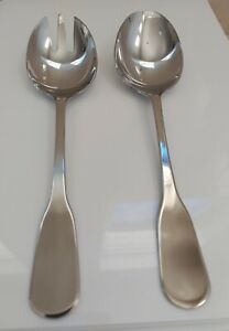 Oneida Stainless Steel Large Serving Spoon Fork Buffet Party Dinnerware Set of 2