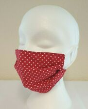 Face Mask Pleated Red Polka Dot (single) Reusable, Washable, Dual Layered.