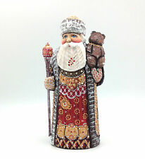 Russian Wooden Hand Carved Hand Painted Santa with a Bear