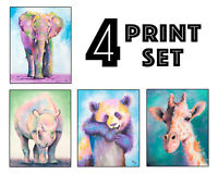 Zoo Animal Art Prints - Elephant, Panda, Rhino, Giraffe - Set of 4 - 8x10 inches