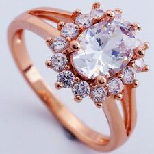 Size9 CLEAR C.Z FLOWER DESIGN ROSE GOLD PLATED RING+GIFT POUCH (8354)