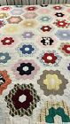 1950s Vintage Handmade Hand Quilted Grandmother's Flower Garden Quilt 72x76 #382