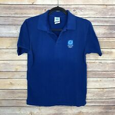 High Q Athens AOHNA Womens XS Pique Polo Shirt 2004 Olympics Blue Top Embroider
