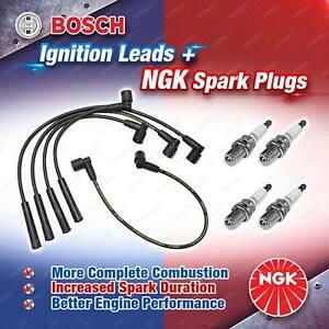4 x NGK Spark Plugs + Bosch Ignition Leads Kit for Volkswagen Golf MK 3 Vento 1H