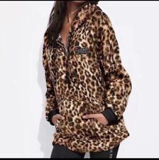 NIP Victoria's Secret PINK Cheetah Leopard Sherpa Hoodie Half Zip Medium