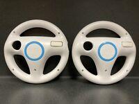 2 Nintendo Wii White Racing Steering Wheels for Mario Kart (RVL-024) OEM