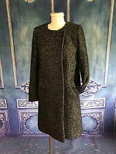 H&M Woven Tweed Wool Collarless Lady Dress Coat SZ 4 US Gray & Black Below Knee