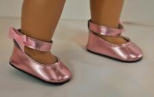 "DOLL SHOES METALLIC PINK WITH BOWS FOR 18"" AMERICAN GIRL ACCESSORIES CLOTHES"