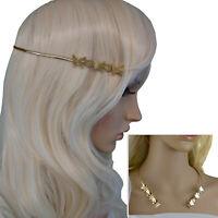 Vintage Gold Tone Metal Collar Necklace Diadem Headband Butterfly Flow