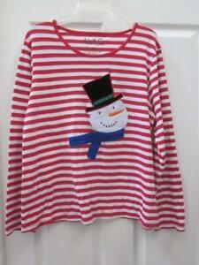 NOUVEAUX Red & White Stiped Long Sleeve Christmas Shirt w/ Snowman Applique  2X
