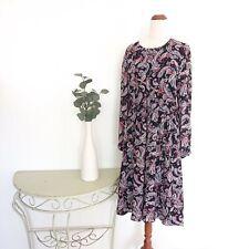 Sussan Size 12 Paisley Midi Dress 3/4 Sleeve Black Tie Waist Boho Colour Pattern