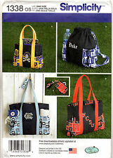 """UNCUT Simplicity Sewing Pattern #1338 """"Tote Bags Backpack Change Purse Key Ring"""""""