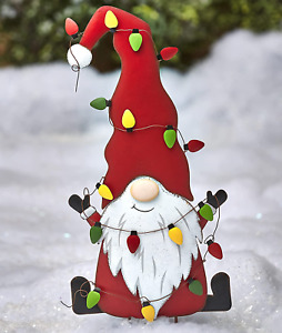 The Lakeside Collection Metal Holiday Stake Garden Gnome with Christmas Icon - R