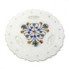 Pietra Dura Inlaid Marble Marquetry Gemstone Floral Inlay Plate Handmade Decor