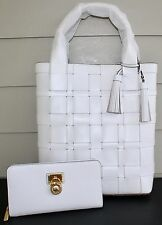 NWT Authentic Michael Kors Woven Leather Vivian Large NS Tote & ZA WALLET $576