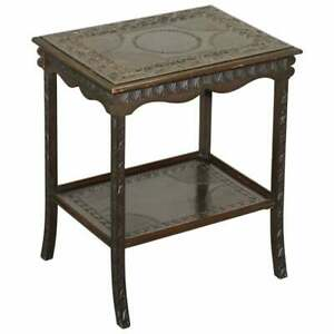 HEAVILY CARVED CIRCA 1880-1900 ANGLO INDIAN OCCASIONAL SILVER TEA TABLE MUST SEE
