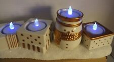 Yankee Candle 4 Tea Light Candle Holder ~ Jackson Frost~White w/ Gold Trim New
