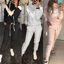 Damen Einfarbiger Kapuzenpullover für Freizeit Sport Fitness Zweiteiliger Anzug