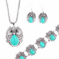 Fashion Women's Turquoise Owl Pendant Necklace Earrings Bracelet Jewelry Sets