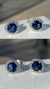 Authentic PANDORA Blue Round Sparkle Stud Earrings S925 ALE #296272C01 w/ BOX