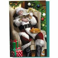 """Tree-Free Greetings Christmas Cards And Envelopes, Set Of 12, 4 X 6"""", Cat Nap"""