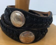 AMAZING JUSTIN BLACK LEATHER BELT WESTERN SILVER HALF DOLLAR Replicas  Size 32