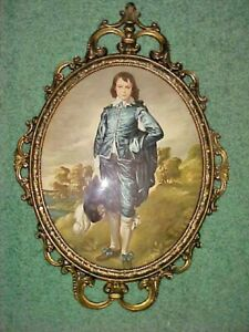 "Blue Boy Print In Oval Frame.Vintage Norleans Italy 17"" Tall  Glass and Metal"