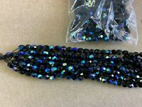 Beads  Fire Polished Beads 300 Beads Czech Glass Beads 6mm jet ab .