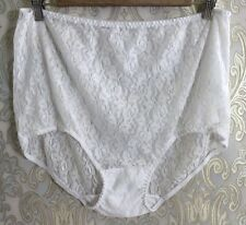 Vintage Semi Sheer White Bridal Lace Sissy High Waist Briefs Panties 11 13