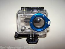Genuine GoPro HERO1, 2  Waterproof Dive Case Housing Original Blue lanyard lens