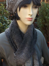 Long Chevron Crochet Scarf  HANDMADE - Variegated Grey Tones Quality Wool Mix
